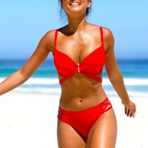 Bravissimo Red Halter neck Bikini - L/36G